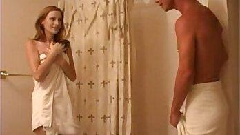 Cutiful redhead chick gets caught in bathroom