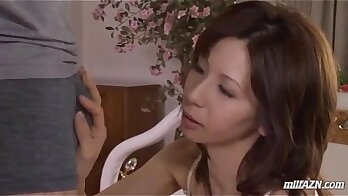 able milf in lingerie is doing blowjob and touching pussy, taking cum