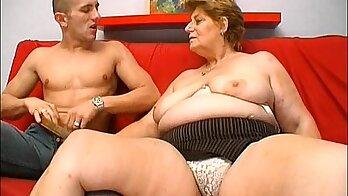 Chubby mature granny fucks young stud Frankie