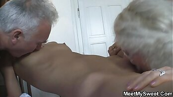 Busty stepmom fucked on the couch by her lad