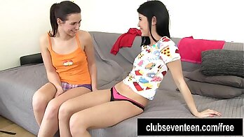Cute teen has fun long lesbian fingering play with her glans