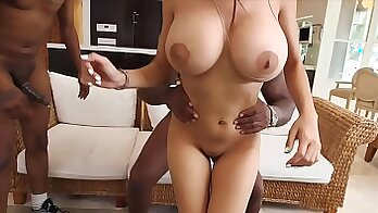 Black boob babe shows off busty naturals