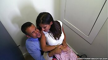 Wonderful stepmother gives in a forbidden daughter bathroom