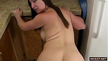 naked on kitchen while mom and son