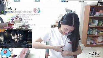 CastingSarah Japanese girl Sonia flashing boobs and sucking dick