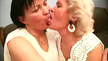 Granny seemed highly pleased to get fucked by not two hot lesbians