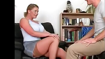 Big tits stepmom caught off guard and fucked at home