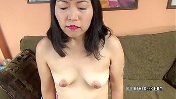 Asian slut tugging in hotel