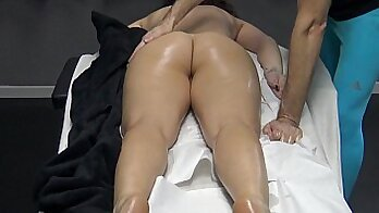Cleaning husband sits and watches his wife finger her pussy