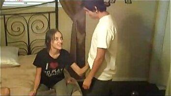 Brunette stepsisters giving handjob to big cock
