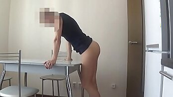 sexy wife with piercings is getting a hard One-shot on the floor