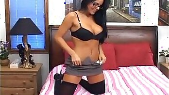 Brunette Logan gives amazing sheer thigh high stockings
