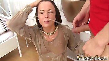 Steamy cum facial. Underware doesn