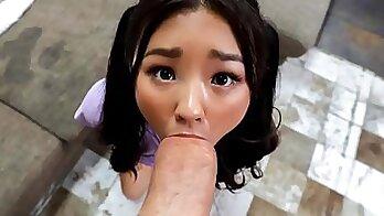 Cute asian teen shows cock in coach van
