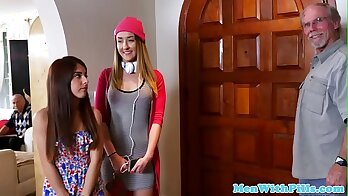 Naughty teen babe riding her old mate