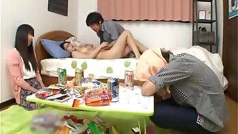 Charming Japanese schoolgirl Akiko met her nerd boyfriend