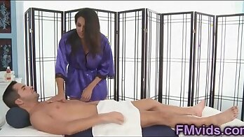 Classy latina cutie asked to massage his thick dick