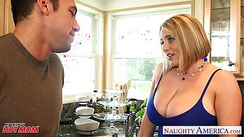 Big titted blonde mom in fishnets is body fucked hard