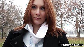 Czech redhead sucking a stud for cash