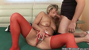 Beautiful old grandma using dildo to fuck her pussy from the here and now