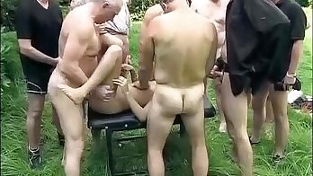 Candice and Kate fun outdoor group sex orgy