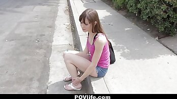 Amateur brunette chick in red suit bound and pussylicked by security guard